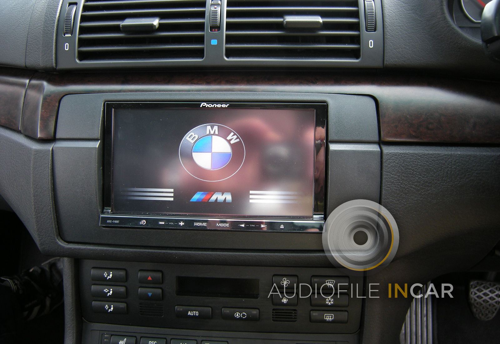 "E46 M3 with BMW logo programed into Pioneer 7"" touch screen Navigation system for an oe look."